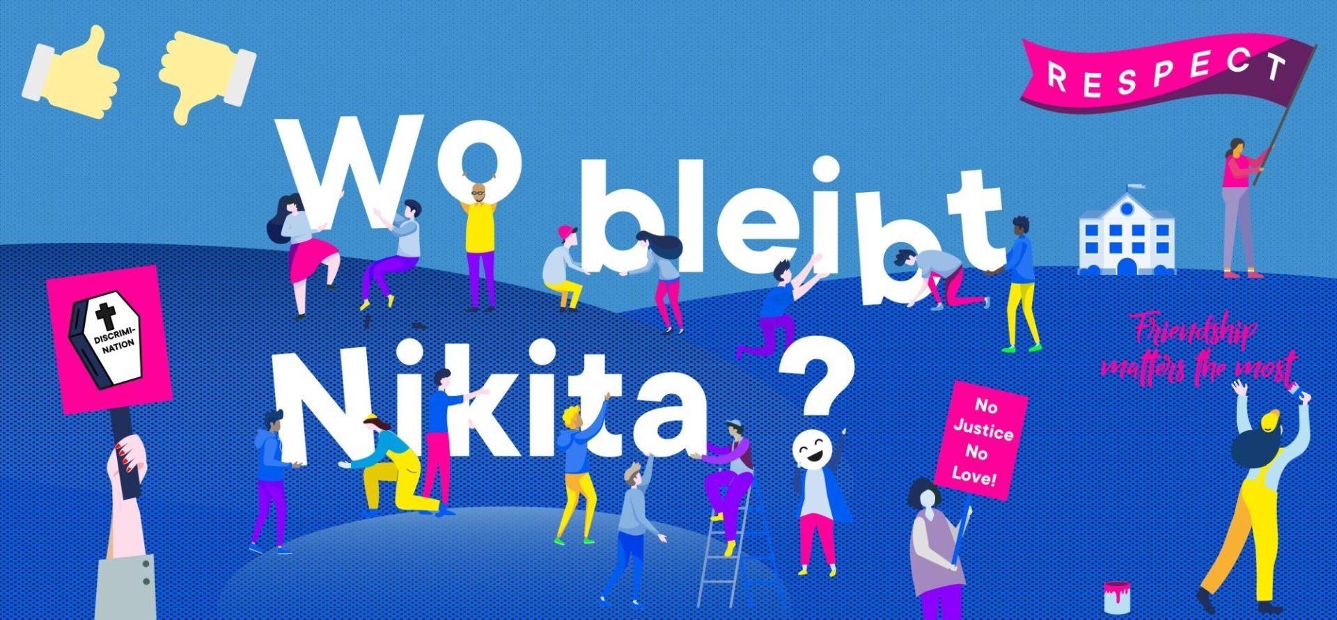 "Schriftzug ""Wo bleibt Nikita?"" vor blauer Grafik"