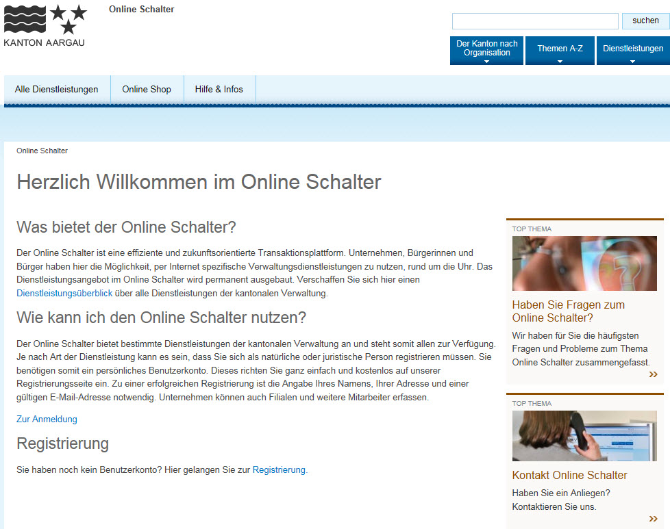 Screenshot Online Schalter