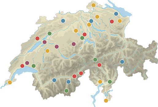 Karte mit den durchgeführten Modellvorhaben der 3. Generation 2014-2018