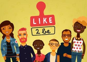 like2be Logo mit verschiedenen Arbeitssuchenden