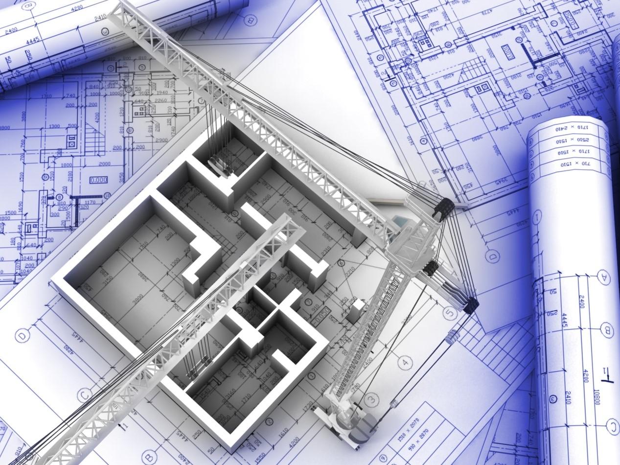 Baupläne, auf denen Kranen und ein Gebäudegrundriss steht.