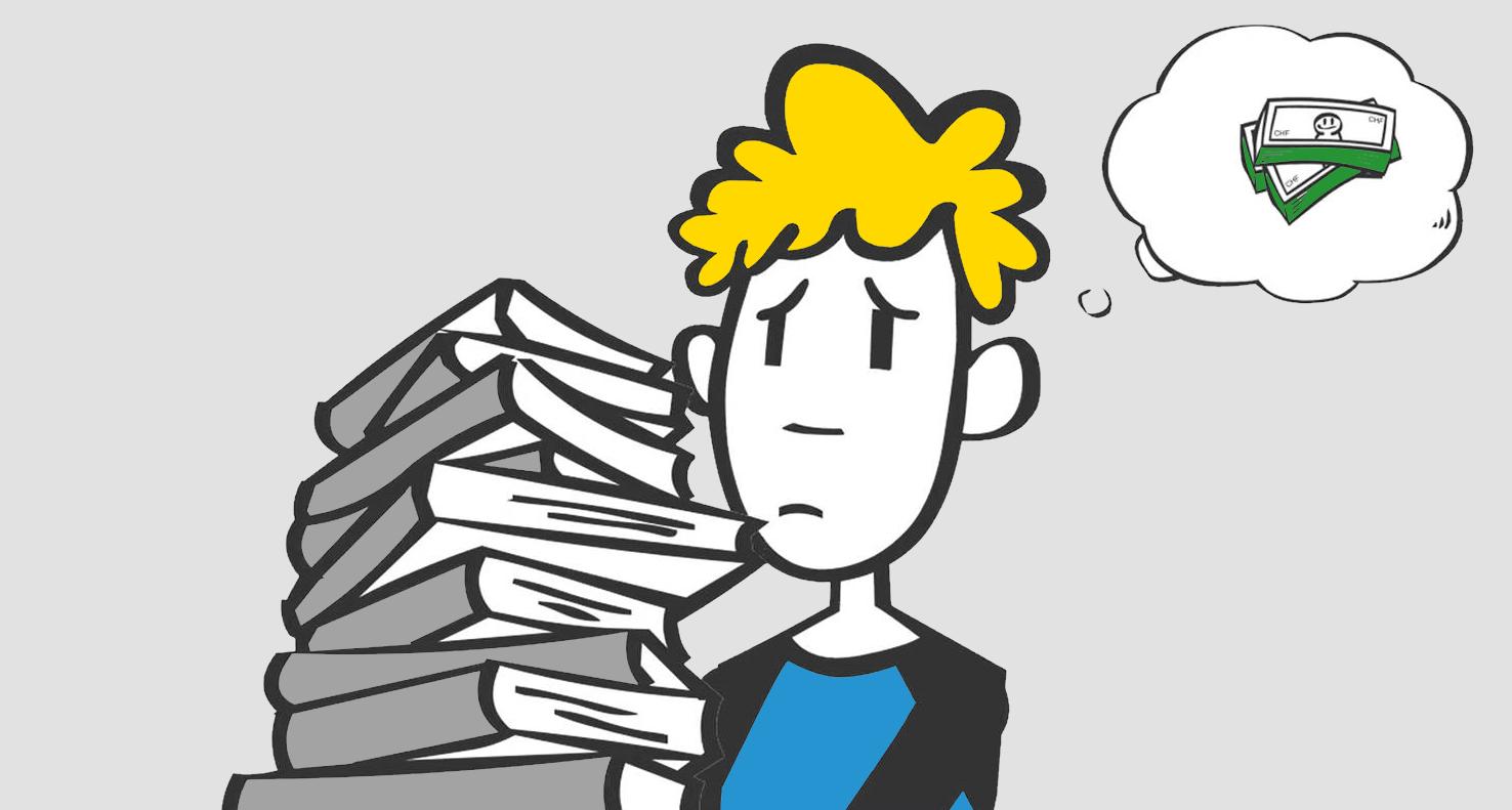 Kartoonistische Darstellung einer Person mit Büchern auf dem Arm und Geldsorgen